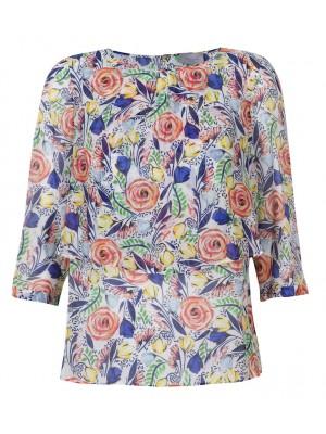 "Marella - ""Nacre"" Silk And Cotton Tunic With Multi Flower Print"