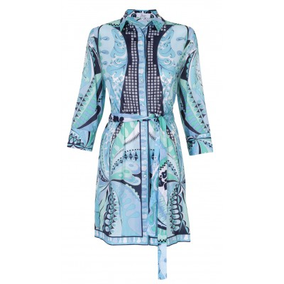 Bessi - 100% Cotton Turquoise Multi Shirt Dress