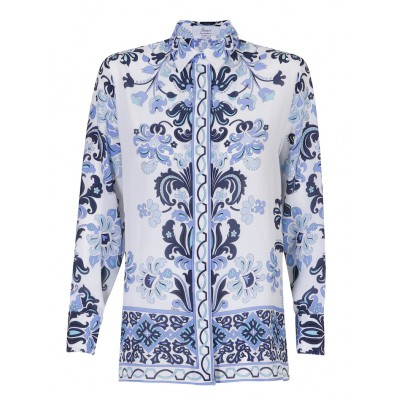 Bessi - 100% Silk Blue/White Print