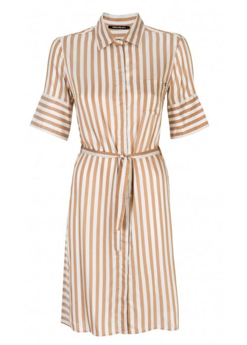 'Magnesio' 100% Silk Shirt Dress With Belt