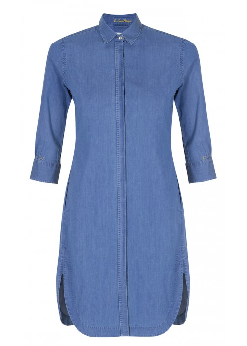 Pettegole - 100% Cotton 'Denim' Inspired Button Down Shirt Dress