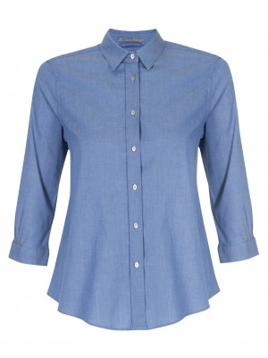 Pettegole - 100% Cotton 'Denim' Inspired Button Down Shirt With Flower Cut Out In The Back