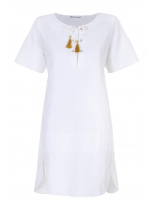 Pettegole - 100% Cotton Dress With Box Sleeves And Gold Tassel Detail