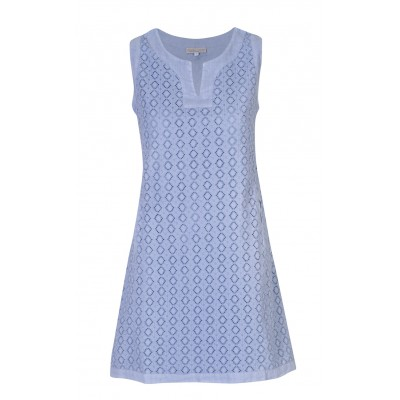 Blitz - 100% Linen Jacquard Light Blue Dress