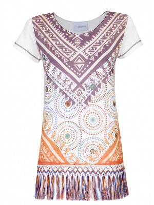 Malvin - 100% Cottton Tee With Aztec Print