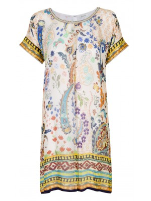 Malvin - Printed Shift Dress With Crystal Neckline