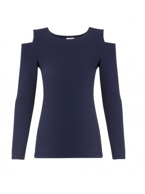 "Marella - ""Carminem"" Cold Shoulder Knit In Navy"