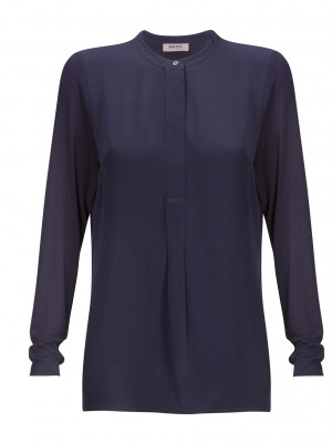 Malvin - Navy Chinese Collared Blouse