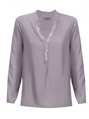Malvin - Grey Blouse With Sequenced Neckline