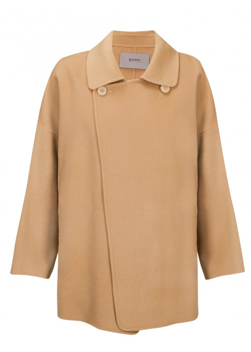 Malvin - 100% Woollen Tan Oversized Coat