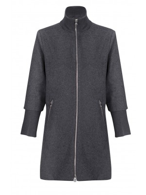 Malvin - Charcoal Long Coat With Side Zips