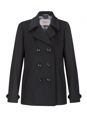Malvin - 100% Woollen Black Double Breasted Short Coat