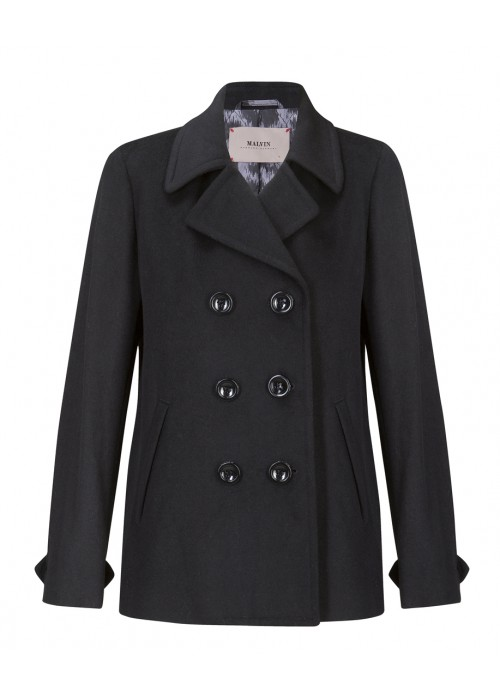 Malvin - 100% Woollen Black Double Breasted Short Coat