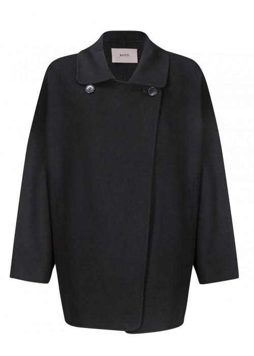 Malvin - 100% Woollen Black Oversized Coat