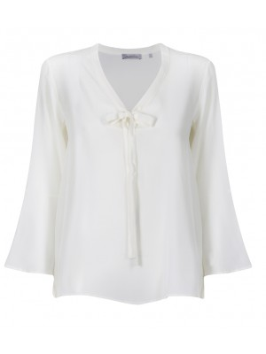 "Marella - ""Giugno"" - 100% Cream Bell Sleeve Blouse With Bow"