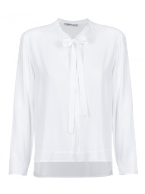 """Edda"" -  White Blouse With Neck Tie"