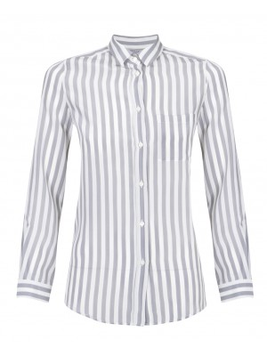 "Marella - ""Lodi"" 100% Silk Grey/White Stripe Shirt"