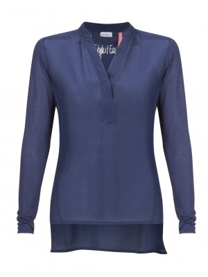 "Marella - ""Turkum"" 100% Silk High/Low Blouse In Navy"