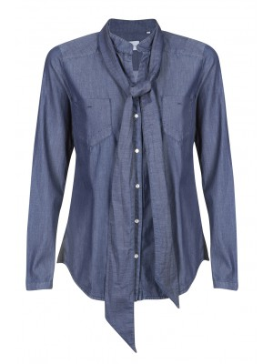 "Marella - ""Intrigo"" 100% Cotton Denim Inspired Shirt With Neck Tie"
