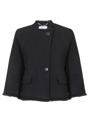 "Marella - ""Sabrina"" Short Coat With Frayed Bottom"