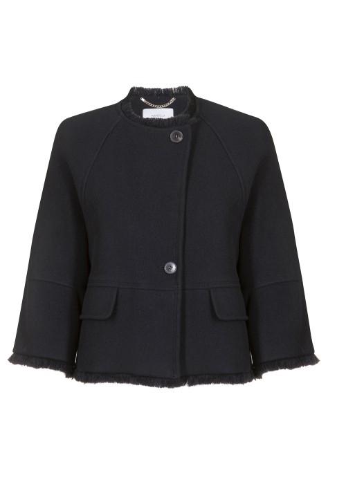 "Marella - ""Sabrina"" Short Coat With Frayed Bottom"