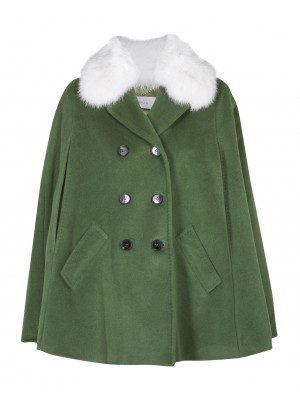 "Marella - ""Cuscus"" Green Woollen Coat With Real Fox Fur"
