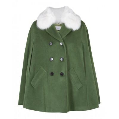 "Marella - ""Cuscus"" Green Woollen Coat With Real Fox Fur"