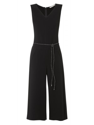 """Manarola"" - Black Culotte Jumpsuit With A Detachable Rope Belt"