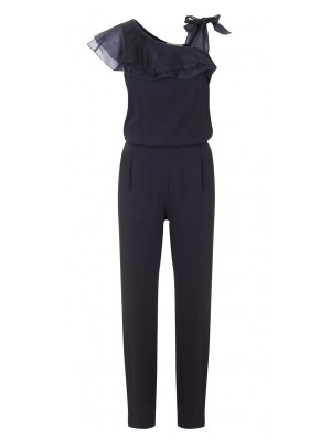 """Malvasia"" - Classic Navy Jumpsuit With Asymmetrical Sleeves"