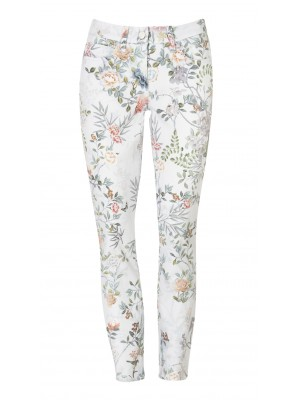 "Cambio - ""Parla Cropped"" 100% Cotton Floral Printed Stretch Pants"
