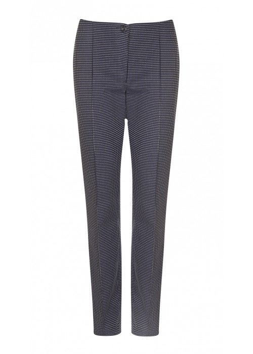 """Cambio - """"Ros"""" Navy And White Dotted Classic Cut Trousers"""