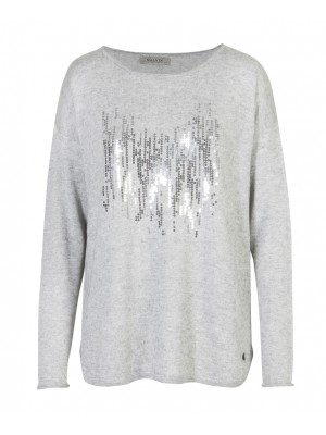 Mavin - Light Weight Grey Jumper With Front Sequence Detail