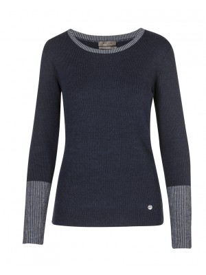 Malvin -  Classic Navy Jumper With Glitter Detail On Collar And Cuff