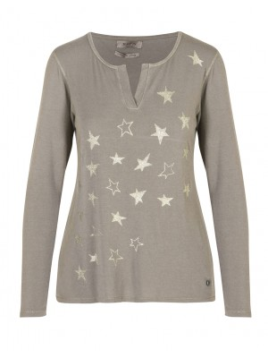 Malvin - Taupe Light Weight Jumper with Gold Star Detail