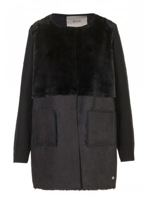 Malvin - Black Classic Coat With Fur and Suede Detail