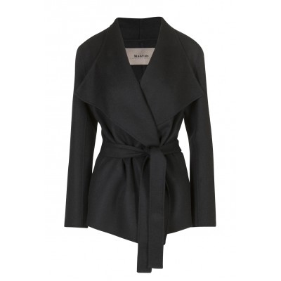 Malvin - 100% Woollen Black Waterfall Coat