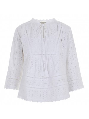 Malvin - 100% Cotton White Crochet Blouse