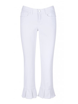 "Cambio - ""Lucille"" Slim Fit White Jeans With Pleated Bottom Detail"