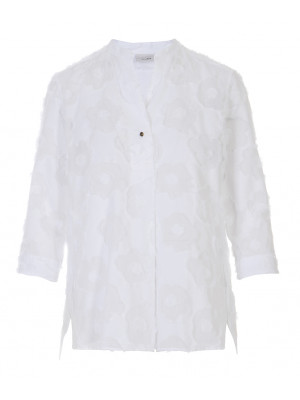 Caliban - 100% Cotton White Detailed Blouse