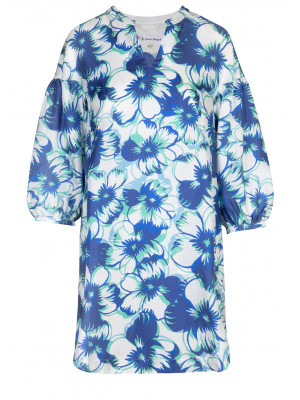 Pettegole - 100% Silk Printed Dress With Balloon Sleeves