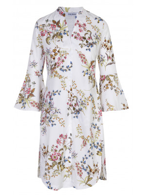 Caliban - 100% Cotton Floral Printed Dress With Bell Sleeves