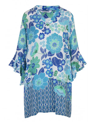 Caliban - 100% Silk Floral Printed Dress with Bell Sleeves