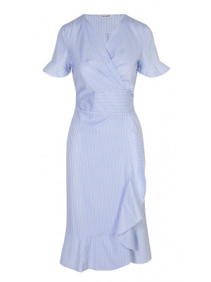 Caliban - 100% Cotton Striped Wrap Dress