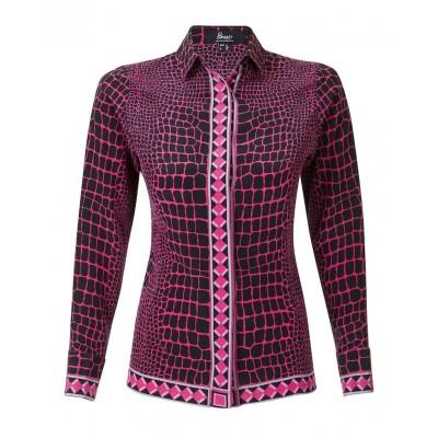 Bessi - 100% Silk Pink Printed Blouse