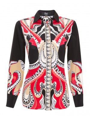 Bessi - 100% Silk Red Printed Blouse