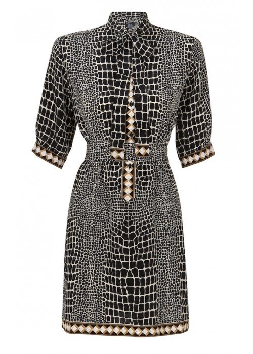 Bessi - Silk Croc Print Shirt Dress