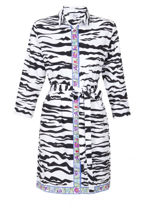 Bessi - Cotton Zebra Print Shirt Dress