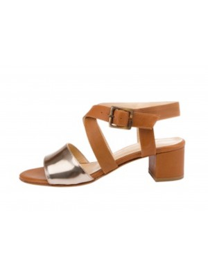 Vincenzo Ferrara - Tan/Bronze Medium Heel Crossover Sandal