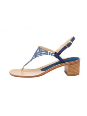 Vincenzo Ferrara - Thong Sandal On A Medium Heel In Blue