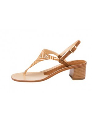 Vincenzo Ferrara - Thong Sandal On A Medium Heel In Tan
